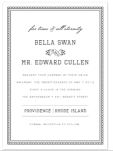 A Twilight-themed wedding invitation from Minted