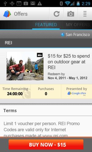 Google Offers screen