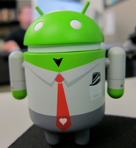 Suit-wearing Android toy