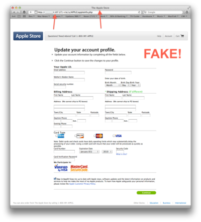 Fake Apple Account Page