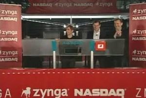 Mark Pincus, CEO of Zynga, rings the NASDAQ opening bell