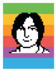 Susan Kare icon portrait of Steve Jobs in 1983