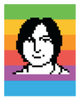 Susan Kare icon portrait of Steve Jobs in 1983