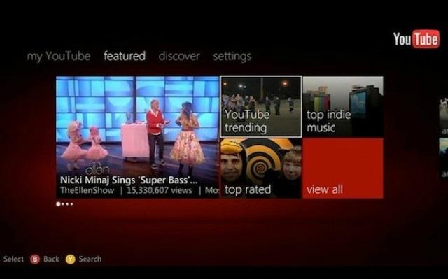 YouTube on Xbox 360