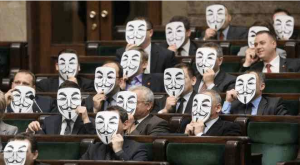 members of parliament in Poland don Guy Fawkes masks to protest ACTA