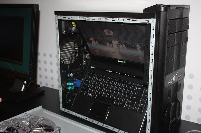 AMD's laptop (hidden in a desktop) powered a cool 3D demo