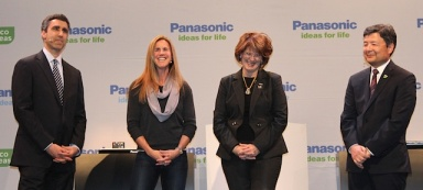 Olympic athlete Brandi Chastain onstage with NBC Universal and Panasonic executives