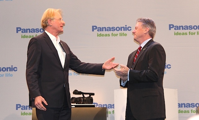 TV personality Ed Begley Jr. onstage with Pansonic CEO Joseph M. Taylor
