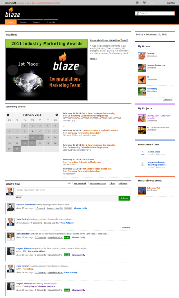 Blaze homepage screenshot