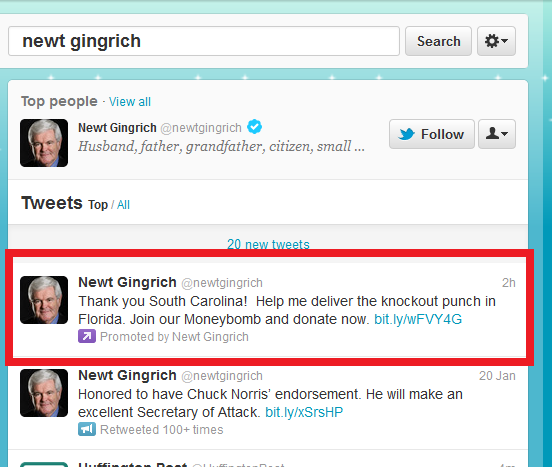 Newt Gingrich uses promoted tweets after winning the South Carolina primary.