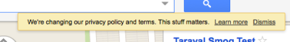 Google privacy policy alert