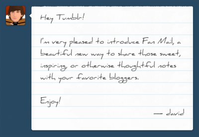 Tumblr releases Fan Mail for private messaging | VentureBeat