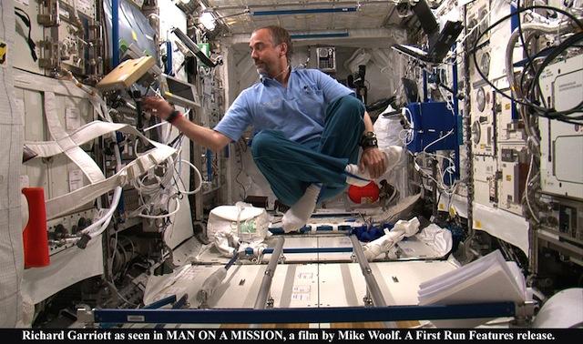 Richard Garriott, aka Lord British, floating inside the ISS