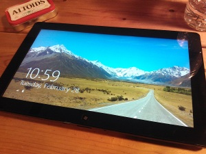 Photo of a Windows 8 tablet showing the boot screen
