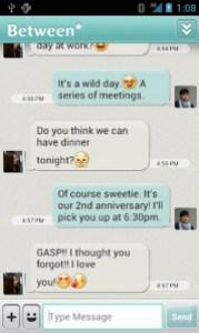 Chat window in the Between app
