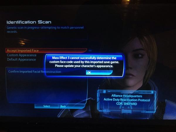 The face data error gamers are getting in Mass Effect 3