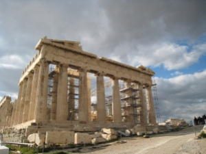 Photo of the Acropolis with scaffolding by Stefanos Kofopoulos/Flickr