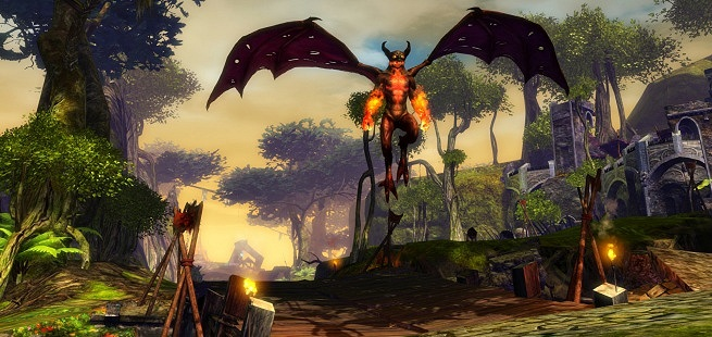 Flaming fire imp in Guild Wars 2.