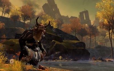 A Charr character patrols the countryside outside the Black Citadel in Guild Wars 2.
