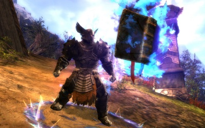 Norn guardian casts the Tome of Wrath skill in Guild Wars 2.