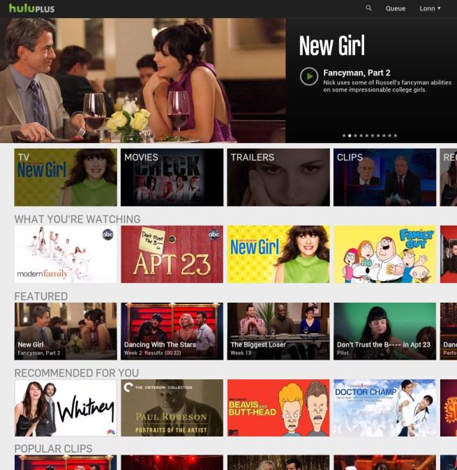 Hulu Android Homepage