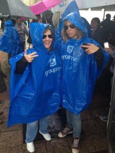 Kara Swisher and Brooke Hammerling in GroupMe ponchos at SXSW