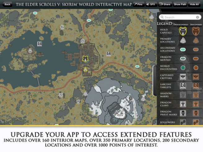 Did the skyrim map app update just eat all of your in app purchases bethesda recently released the elder scrolls v skyrim official world interactive map app gumiabroncs Images