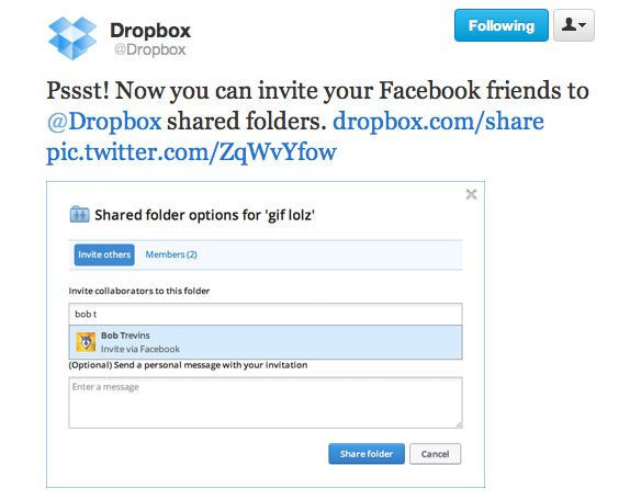 Now you can share your Dropbox folders with your Facebook friends