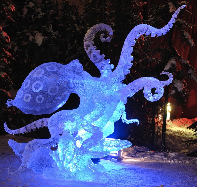 Octopus ice sculpture photo