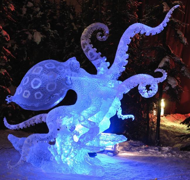 Octopus ice sculpture photo