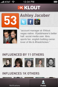 klout profile iphone