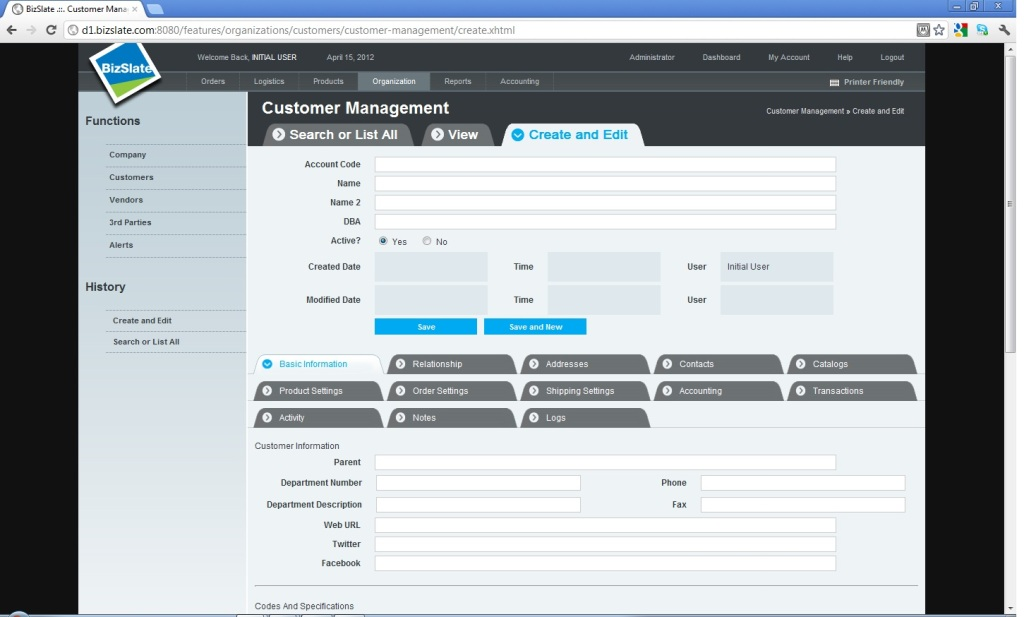Screenshot showing the BizSlate ERP system for small-business supply chain management