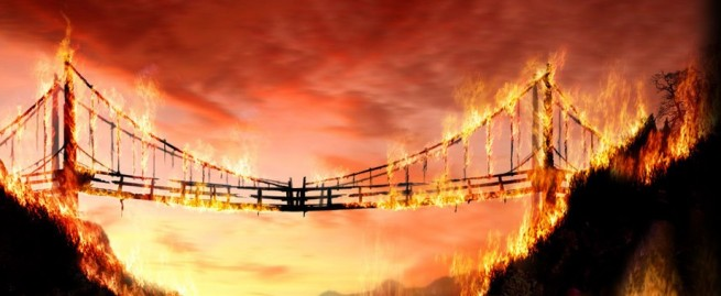 burning bridge