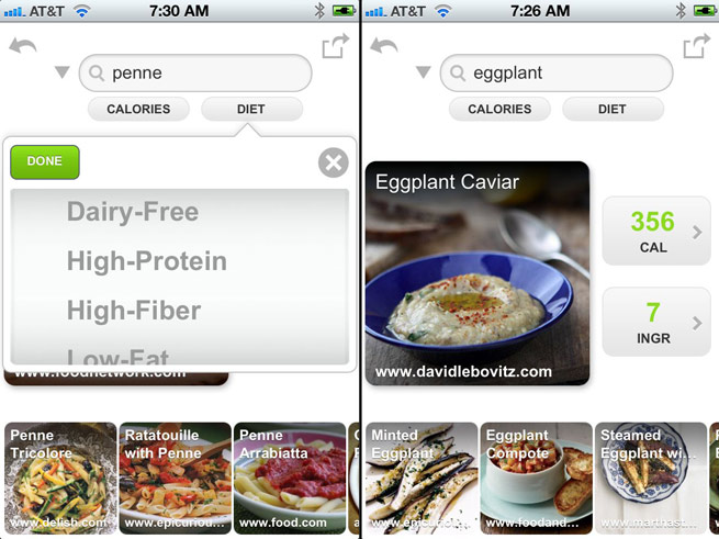 Edamam food app screenshots