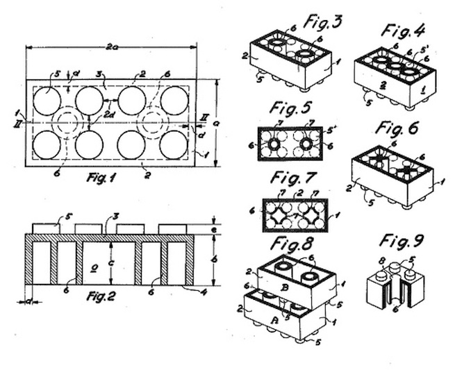 Patent drawing for Lego bricks from 1958. Now, however, the patent system needs to be reformed