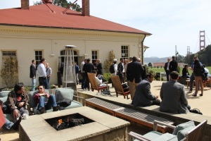 Executives networking at VentureBeat's Mobile Summit 2012 at Cavallo Point in Sausalito, Calif.