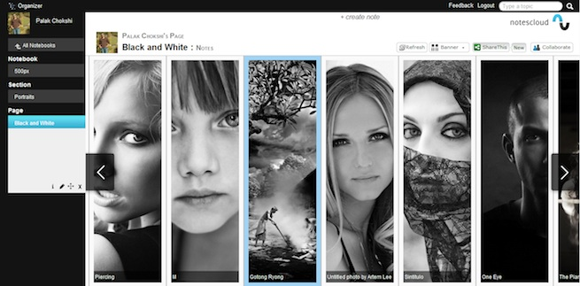 The banner view of NotesCloud lets you see many images at a glance.