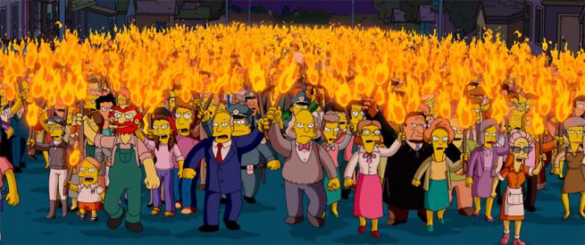 Simpsons' angry mob