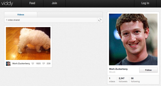 Mark Zuckerberg (and his dog) on Viddy