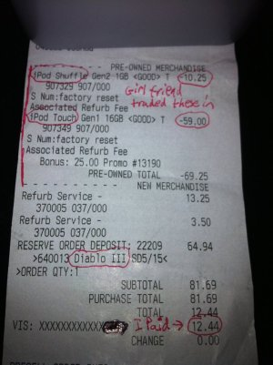 Diablo III receipt