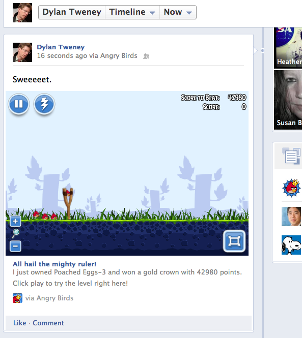 Angry Birds embedded in the Facebook timeline