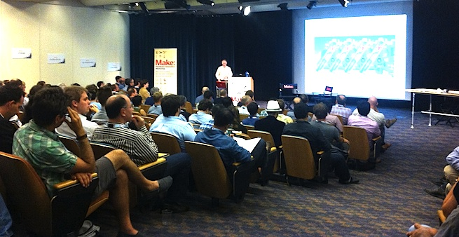 About 150 makers and entrepreneurs gather at the Make Hardware Innovation Workshop May 16, 2012, at Xerox PARC