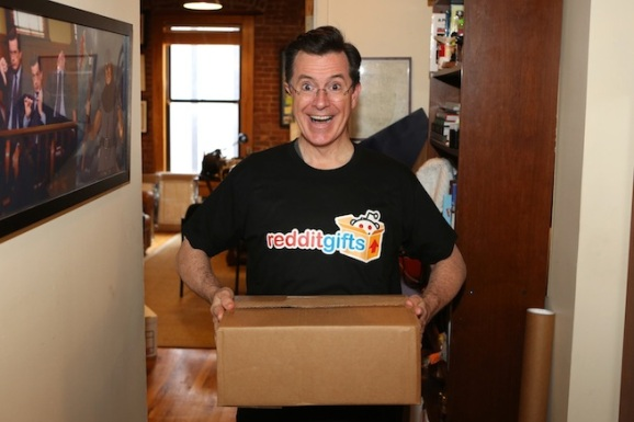 Stephen colbert helps reddit organize gift exchange for us troops reddit gifts participant stephen colbert negle Image collections