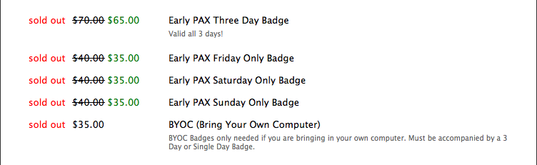 PAX 2012 (sold out)