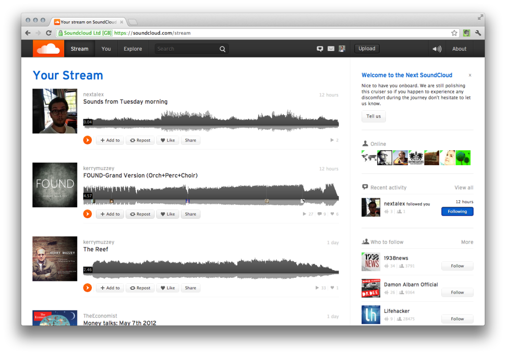 Soundcloud NEXT web app