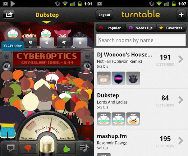 Turntable.fm Android screen