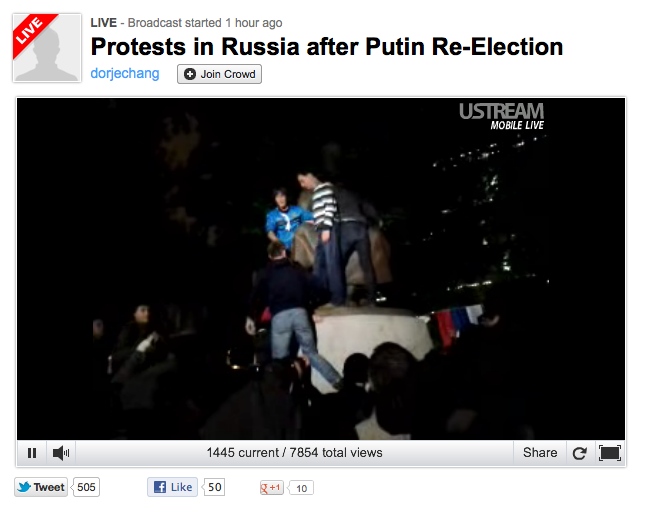 Ustream Russian Protest live video