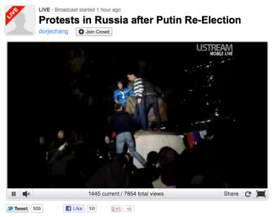 Ustream Russian Protest live video