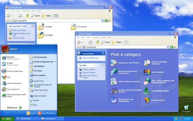 Windows XP screenshot -- Microsoft claims XP costs 5X as much to support than Windows 7