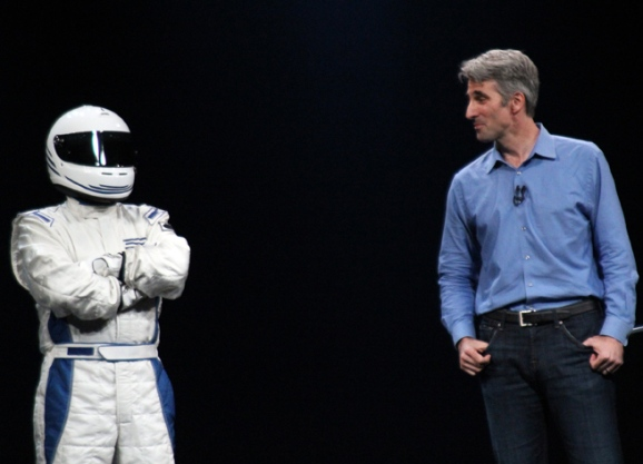 Racer OS X and Apple's Craig Federighi onstage at WWDC 2012.